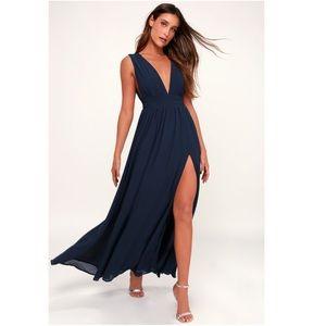 Lulu's Heavenly Hues Navy Blue Maxi Dress